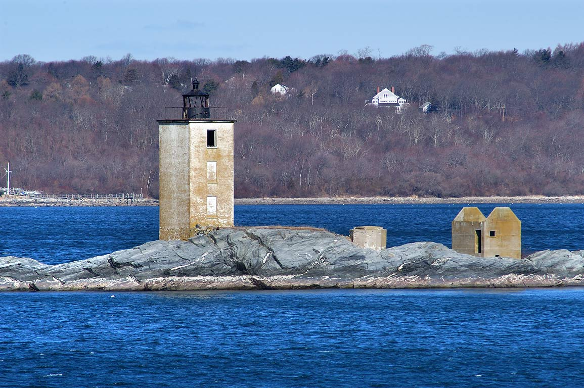 Dutch Island Lighthouse and West passage of...State Park. Jamestown, Rhode Island