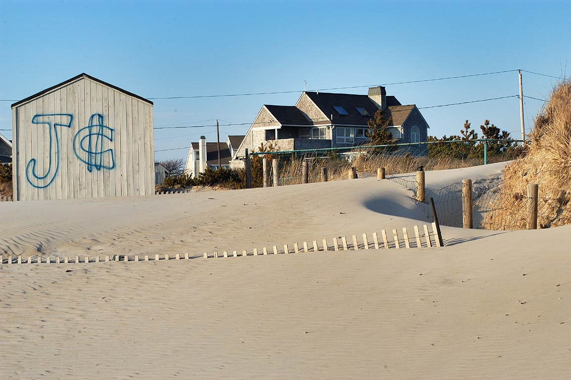 Sands, fences and cottages of Horseneck Beach. Westport, Massachusetts