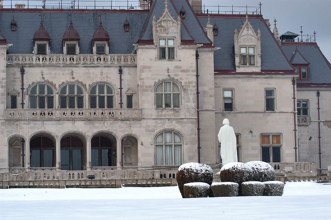 Ochre Court Mansion of Salve Regina University from Cliff Walk in Newport. Rhode Island