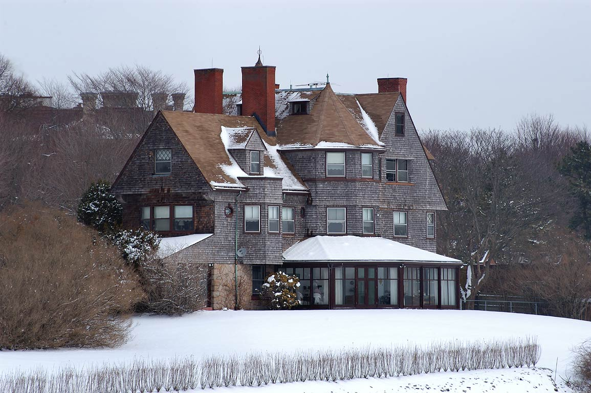 Midcliff Mansion at Ochre Point from Cliff Walk trail in Newport. Rhode Island