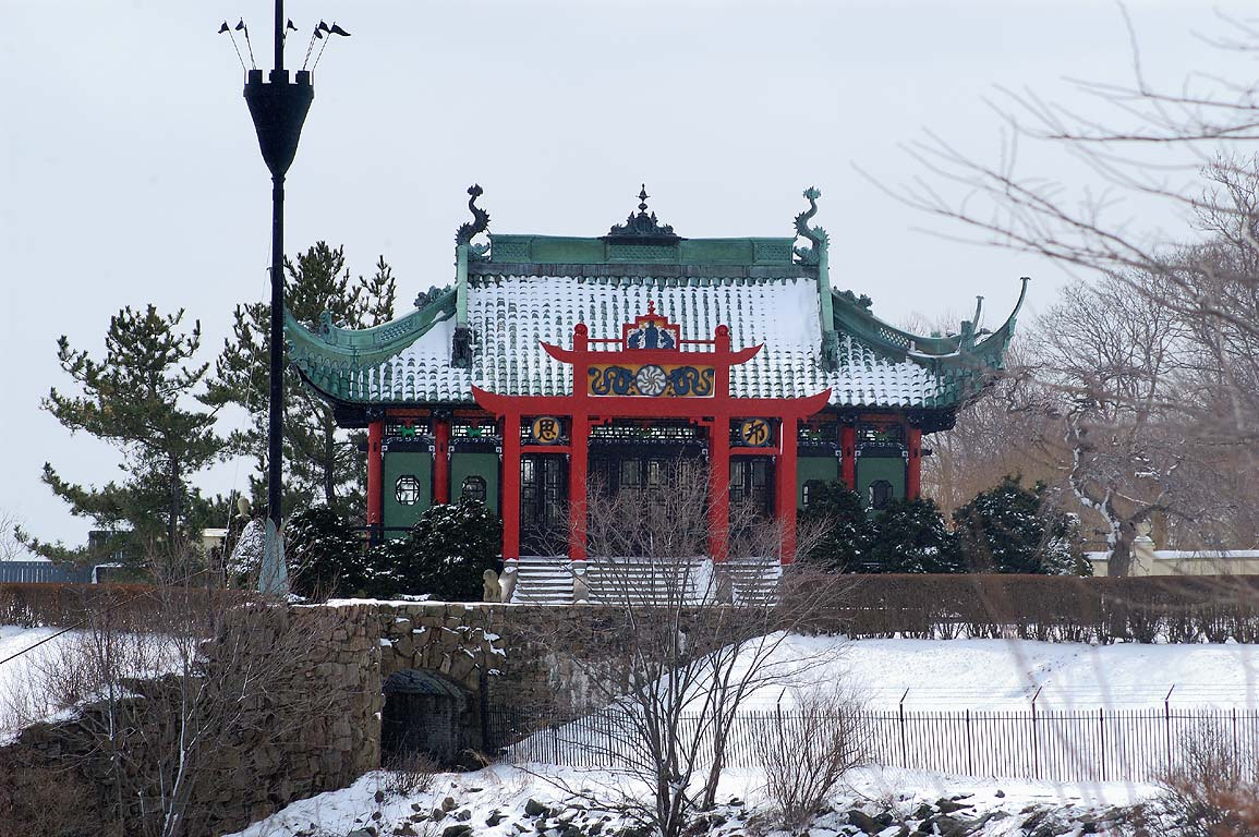 The Chinese Tea house from Cliff Walk trail in Newport. Rhode Island