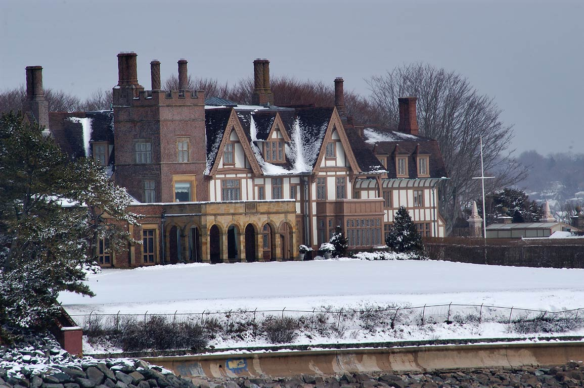 Fairhaven Mansion at Ochre Point from Cliff Walk trail in Newport. Rhode Island