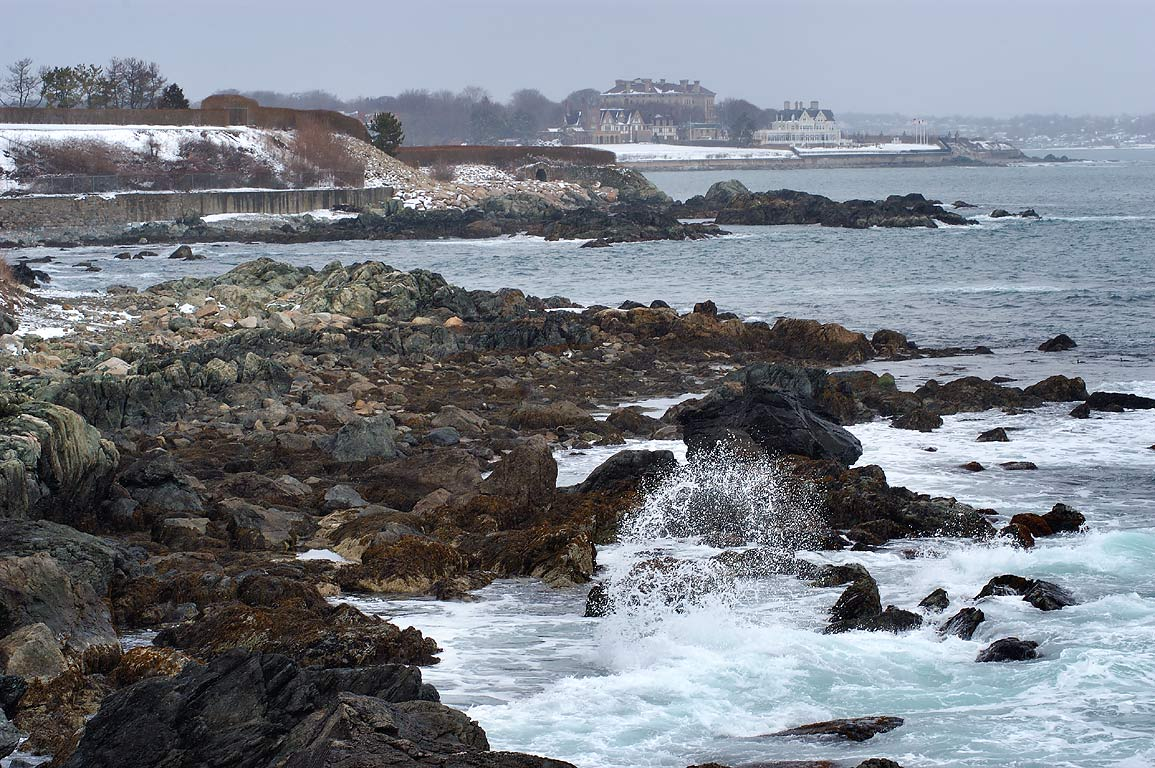 View in direction of Gull Rock from Cliff Walk in Newport. Rhode Island