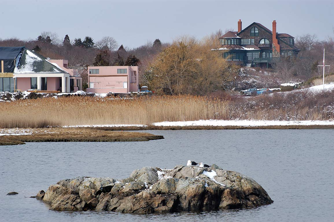 Mansions at Goose Neck Cove, view from Ocean Ave.. Newport, Rhode Island