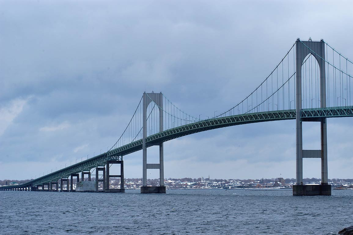 Newport Bridge and West passage of Narragansett...Taylor Point. Jamestown, Rhode Island