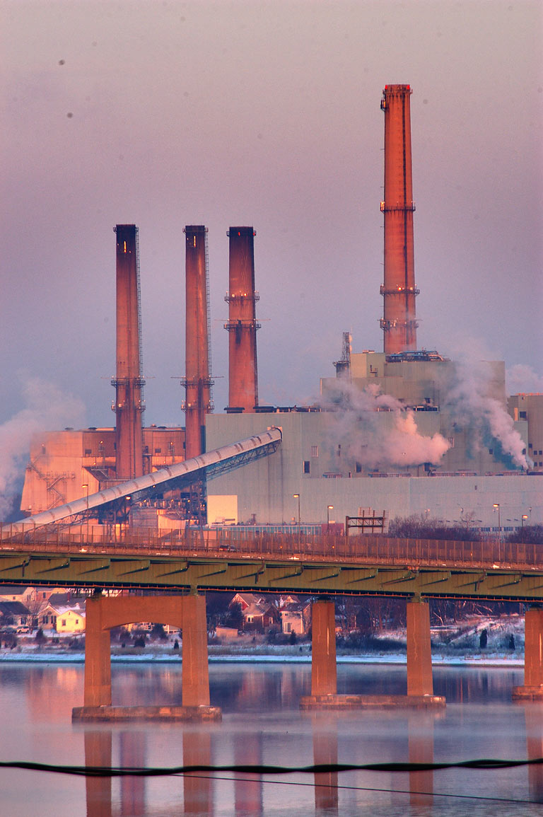 Brayton Point Power Plant at sunrise, view from...District of Fall River. Massachusetts