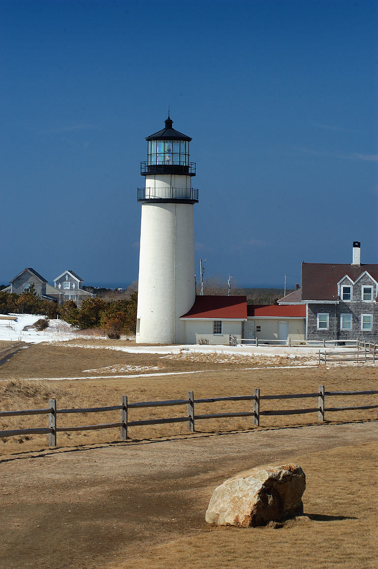 Highland (Cape Cod) Lighthouse. A stone marks...was moved. North Truro, Massachusetts