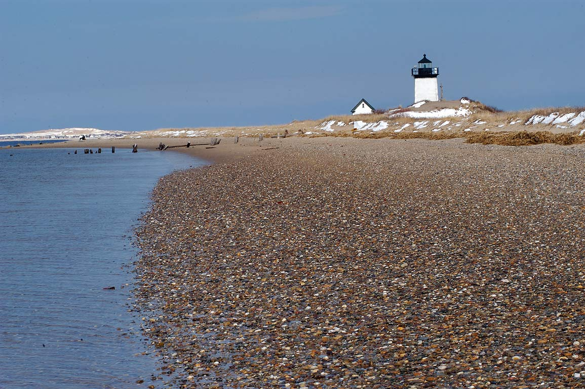 Long Point Lighthouse, view from a beach. Provincetown, Massachusetts