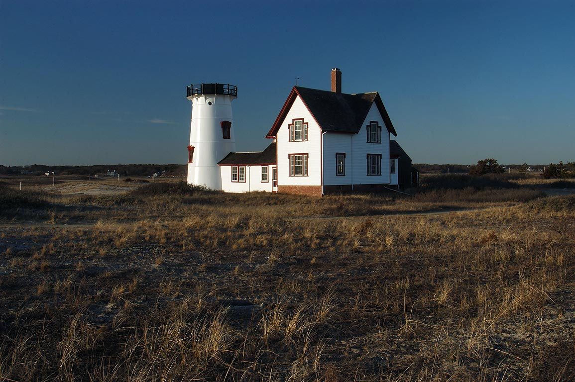Stage Harbor Lighthouse on Harding Beach in Cape Cod. Chatham, Massachusetts