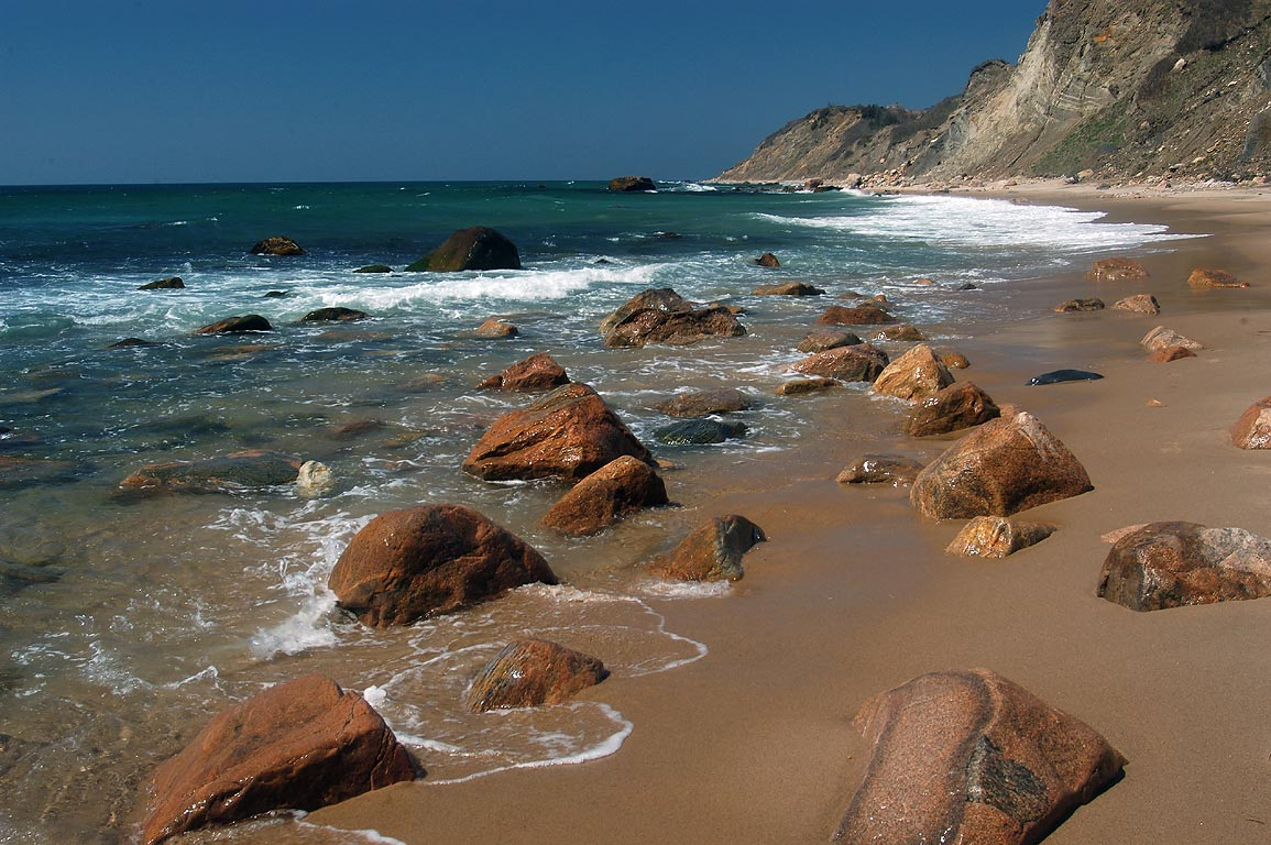 Corn Cove and Mohegan Bluffs in Block Island. New Shoreham, Rhode Island