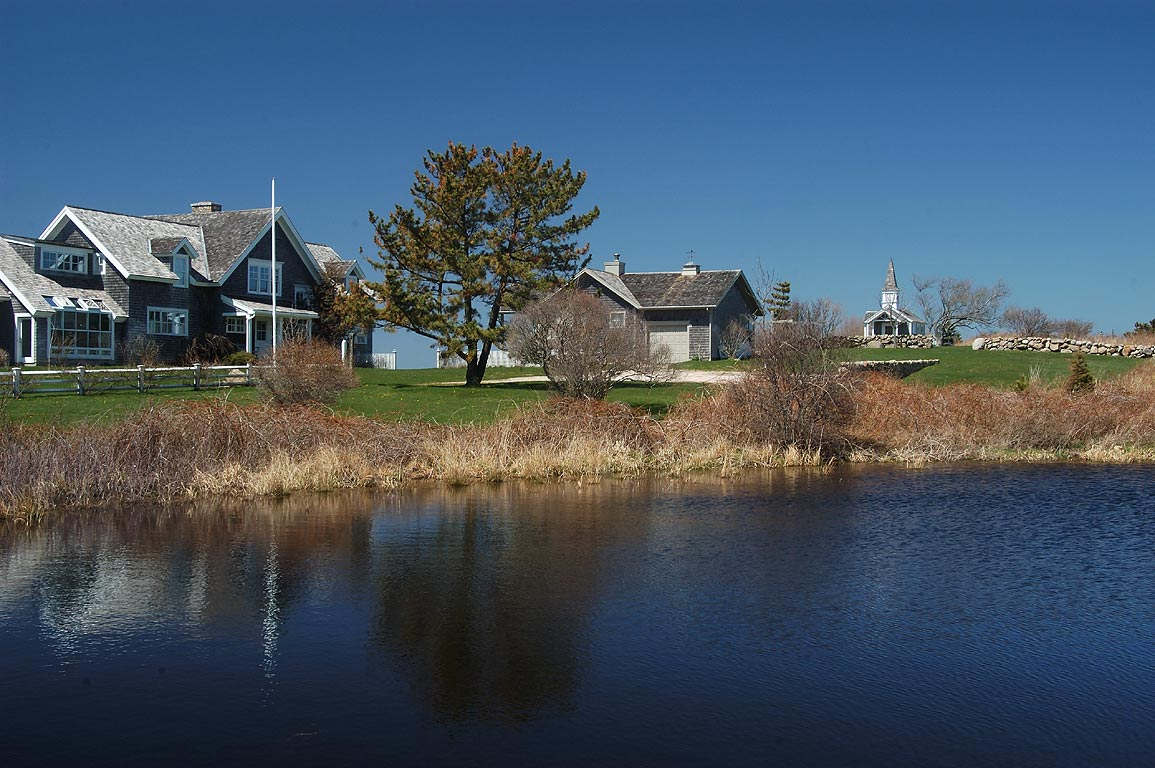 A pond near Dories' Cove Ave. in Block Island. New Shoreham, Rhode Island