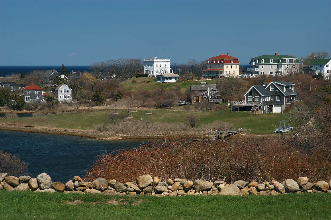 Trim's Pond and mansions east from Center Rd. in Block Island. New Shoreham, Rhode Island