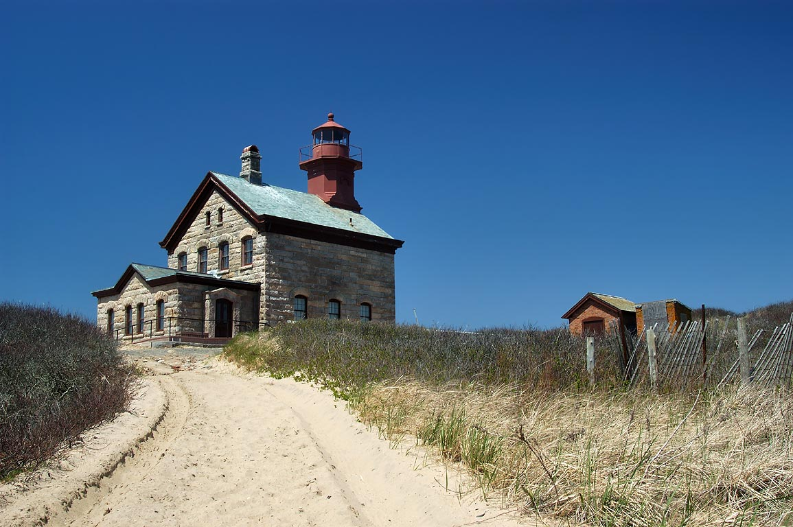 Block Island North Lighthouse in Sandy Point. New Shoreham, Rhode Island