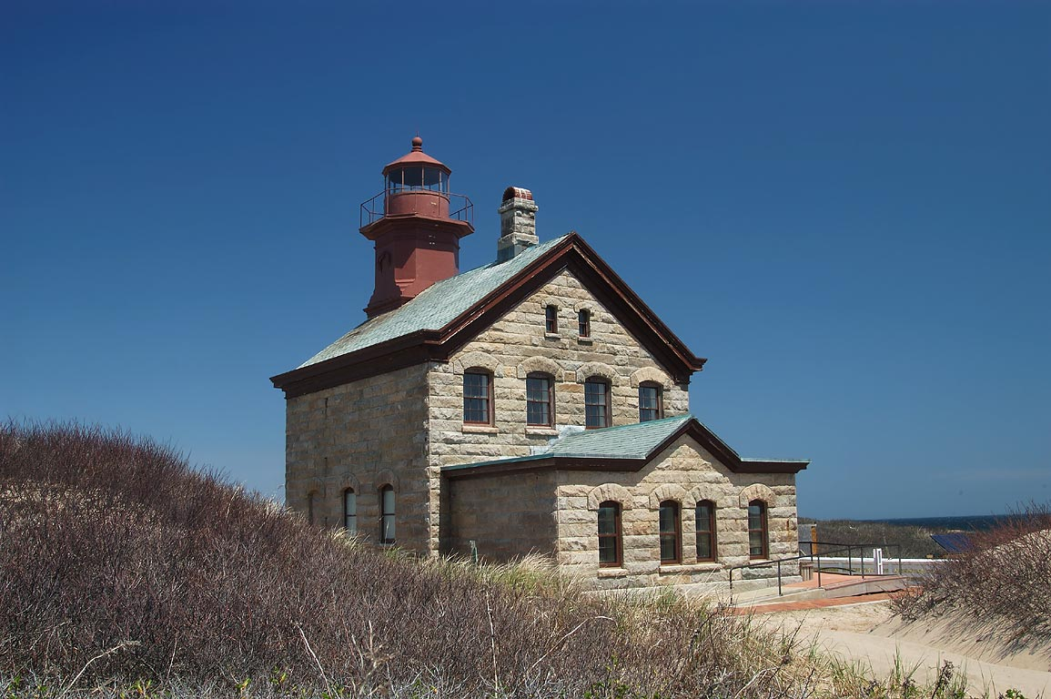 Block Island North Lighthouse in dunes of Sandy Point. New Shoreham, Rhode Island