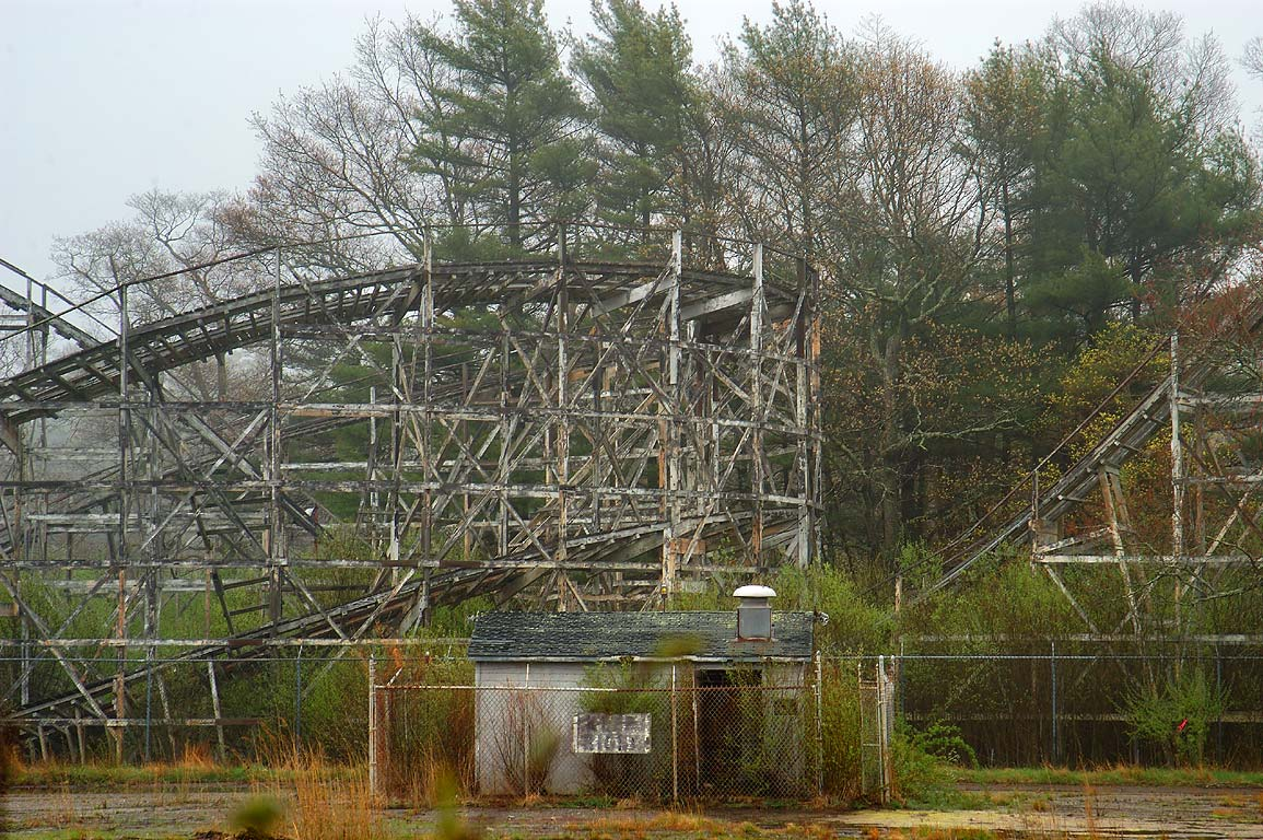 Ruins of Comet roller coaster (1946) at wet...Rd.. North Dartmouth, Massachusetts