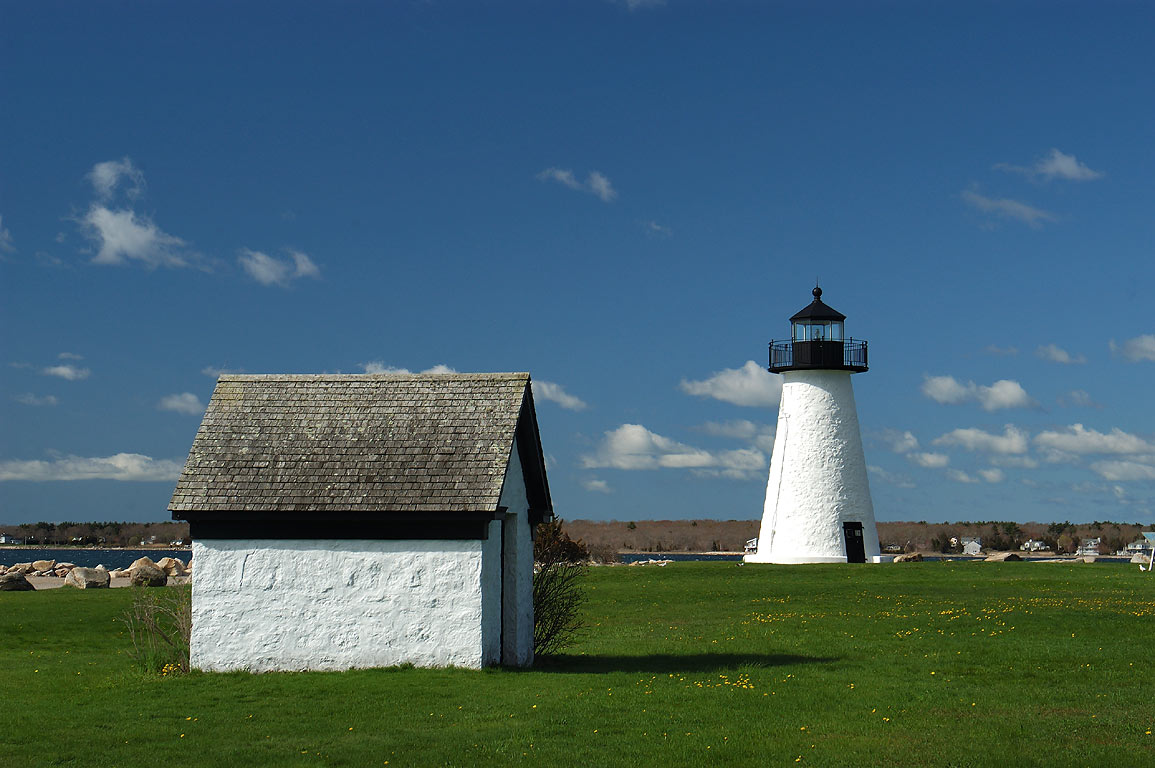 Ned Point Light in a park of Mattapoisett. Massachusetts