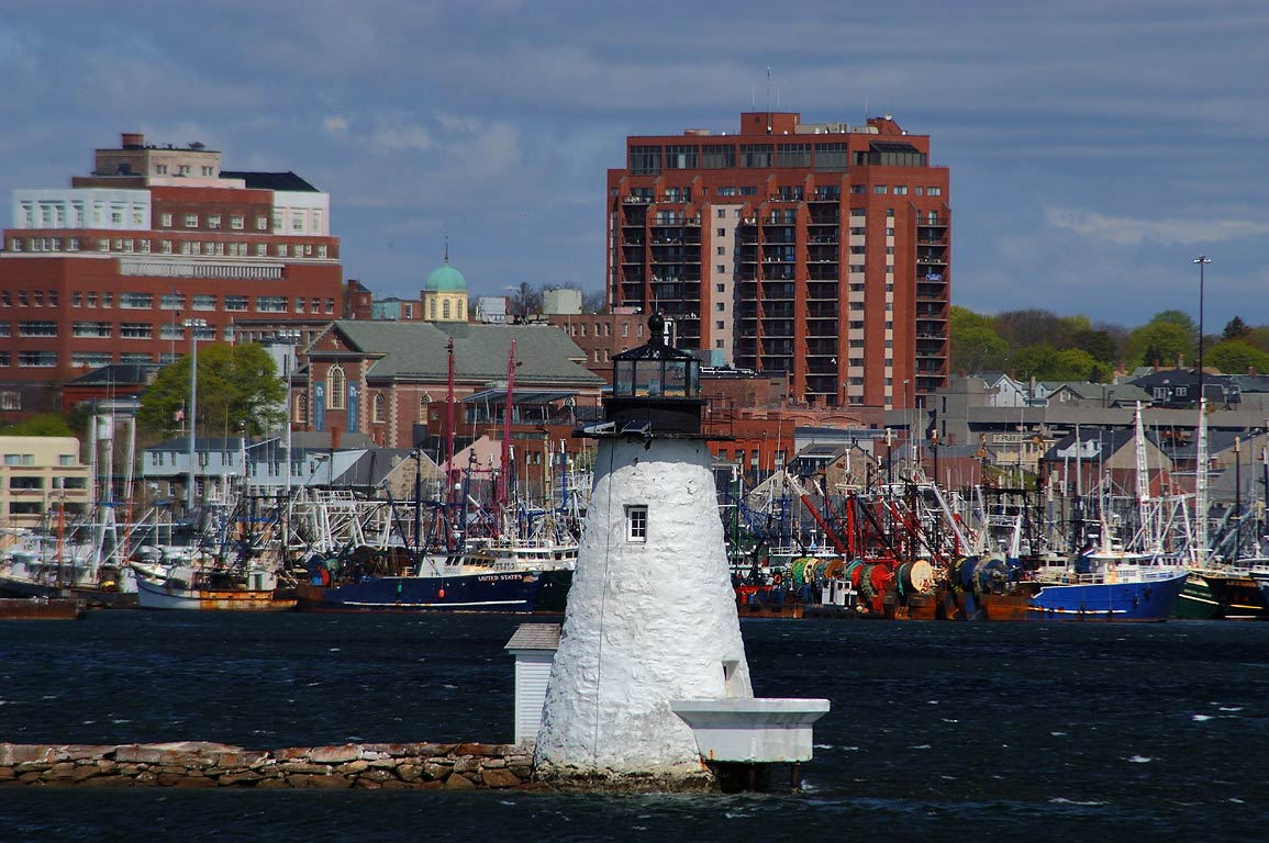 Palmer Island Light, view from a barrier of Fort Phoenix in Fairhaven. Massachusetts