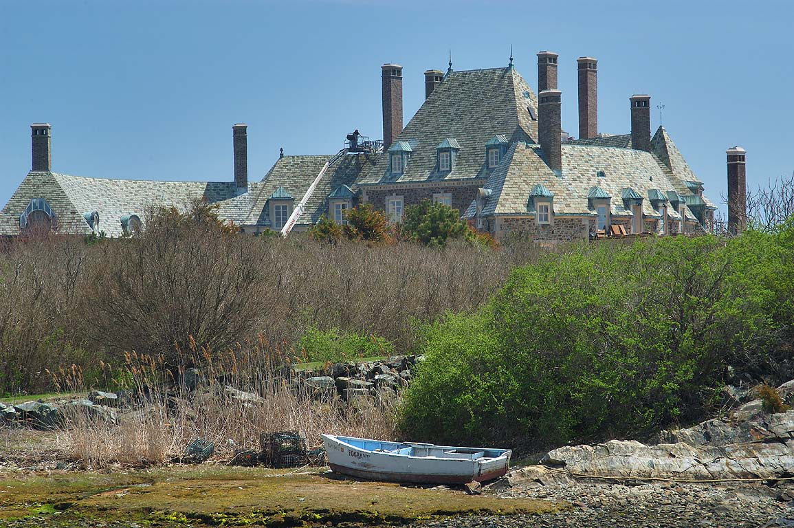 Goose Neck Cove and a mansion on Cherry Neck, view from Ocean Dr.. Newport, Rhode Island