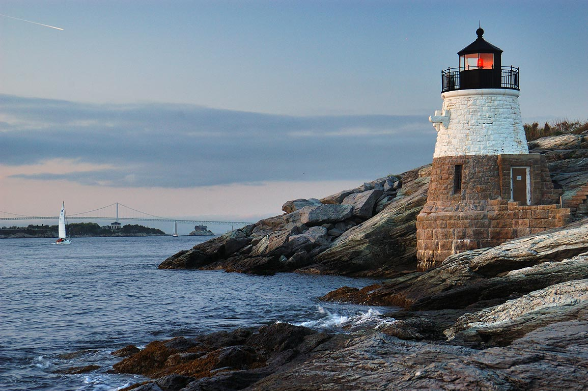 Castle Hill Lighthouse and East passage of...in Newport, at evening. Rhode Island