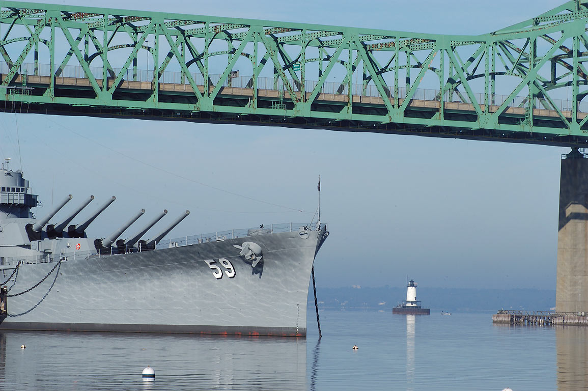 Battleship BB-59 USS Massachusetts, Borden Flats...at morning. Fall River, Massachusetts
