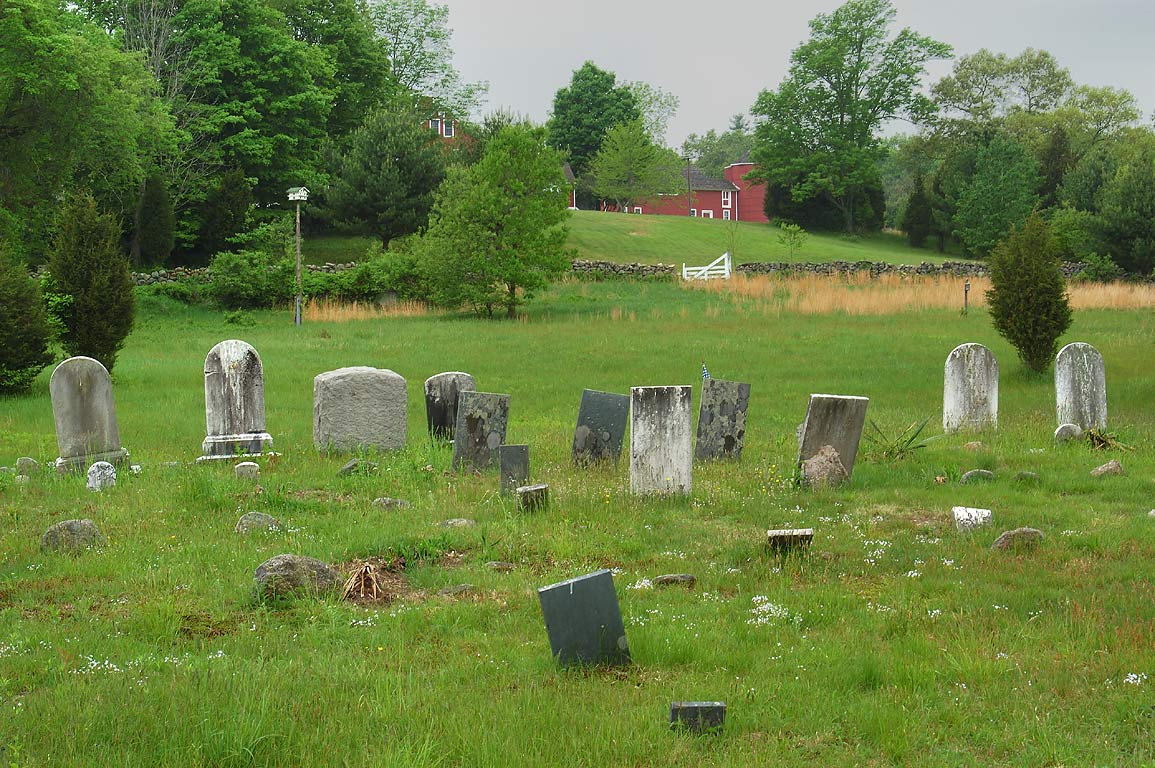 A cemetery in Fisherville Brook Wildlife Refuge, Blue trail. Exeter, Rhode Island