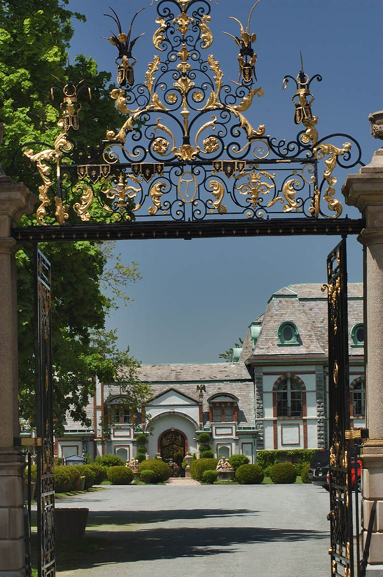 Gate of Belcourt Castle Mansion on Bellevue Ave.. Newport, Rhode Island