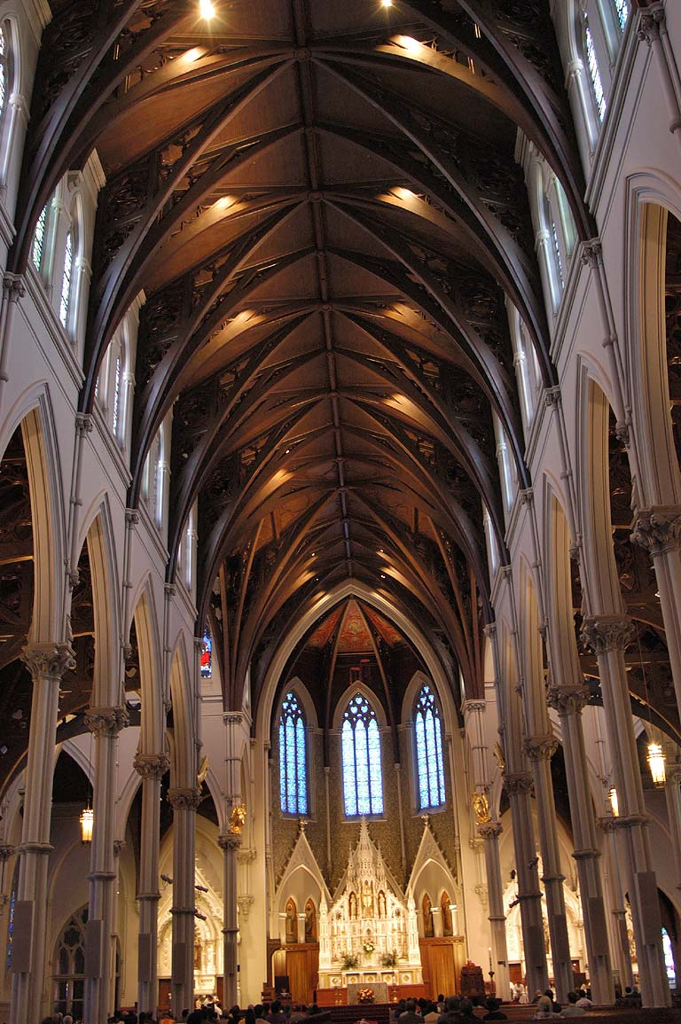 Interior of Cathedral of the Holy Cross in South End of Boston