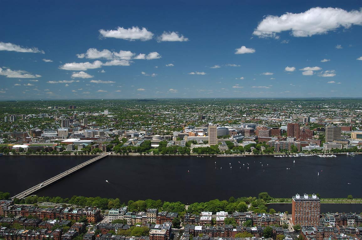 View of Back Bay, Charles River and Cambridge from Prudential Tower. Boston, Massachusetts