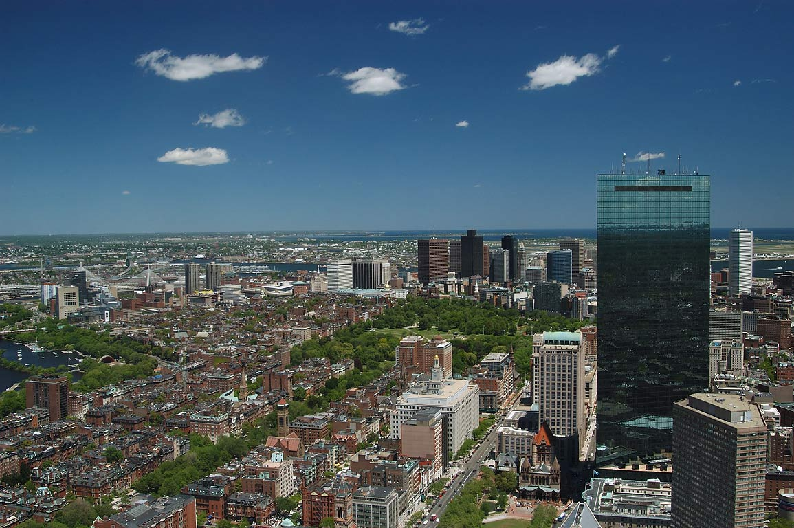 View of Boston Common and downtown from Prudential Tower. Boston, Massachusetts