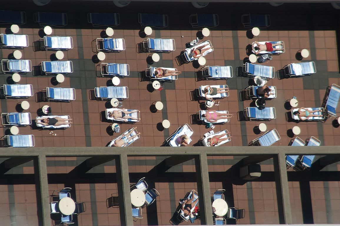 People tanning on a roof of Sheraton Hotel , view...Tower. Boston, Massachusetts