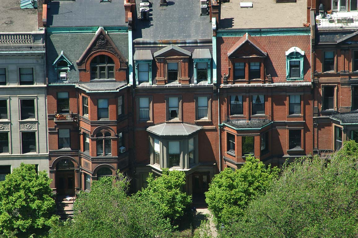 Houses on Commonwealth Ave. of Back Bay, view from Prudential Tower. Boston, Massachusetts
