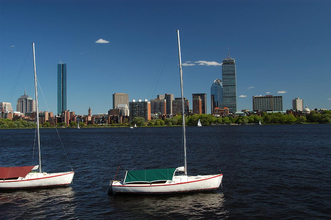 Charles River and Back Bay area from Memorial Dr. in Cambridge. Boston, Massachusetts