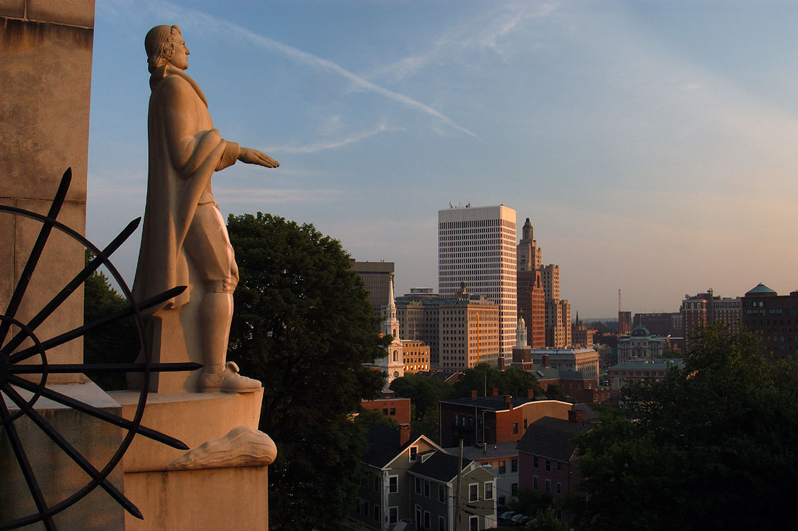A statue of Roger Williams on Prospect Terrace at evening. Providence, Rhode Island