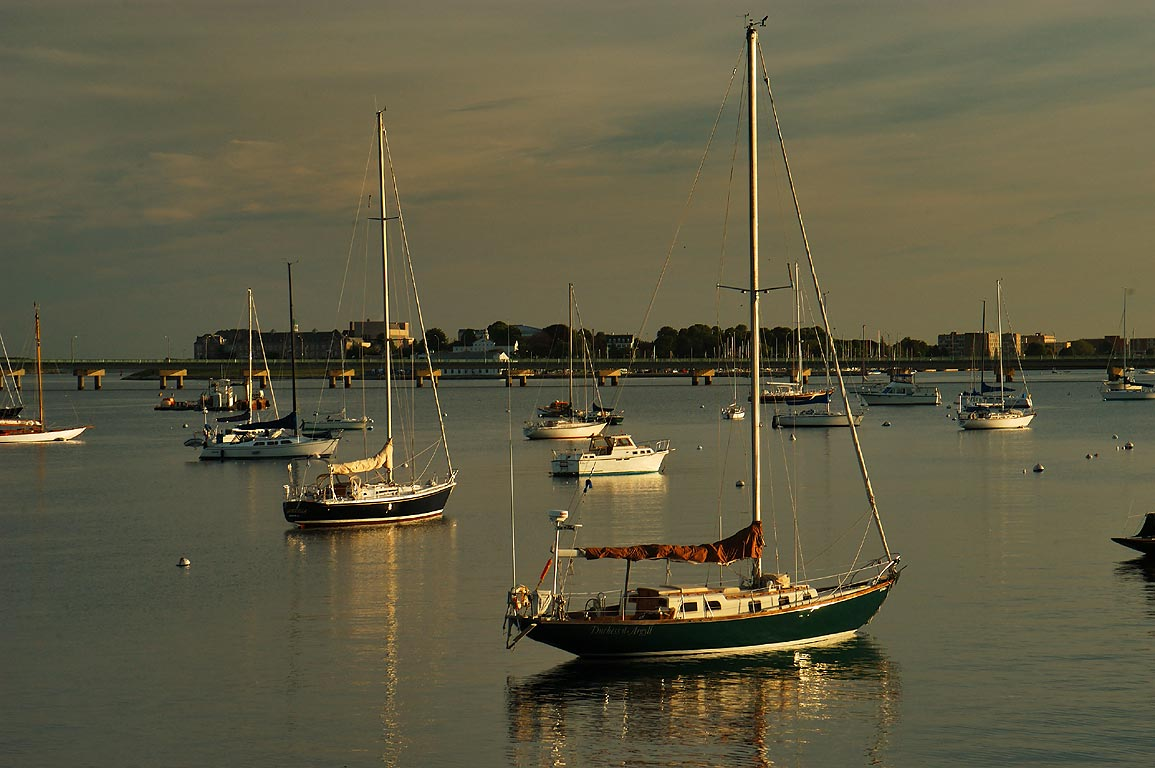 Boats in Newport Harbor, view from Goat Island Connector. Newport, Rhode Island