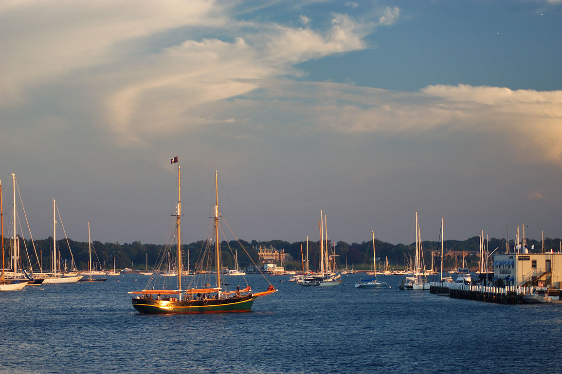 Boats in Newport Harbor, view from Goat Island Causeway. Newport, Rhode Island