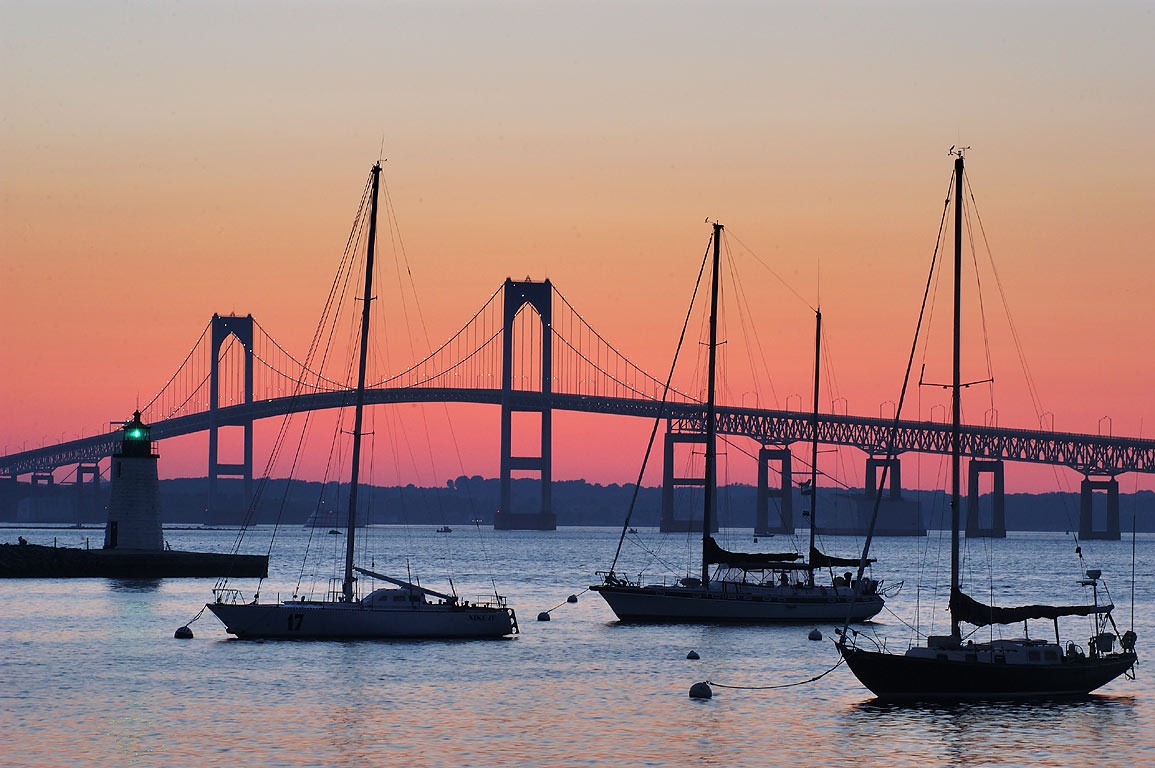 Boats in Narragansett Bay and Newport Bridge at...Island Causeway. Newport, Rhode Island