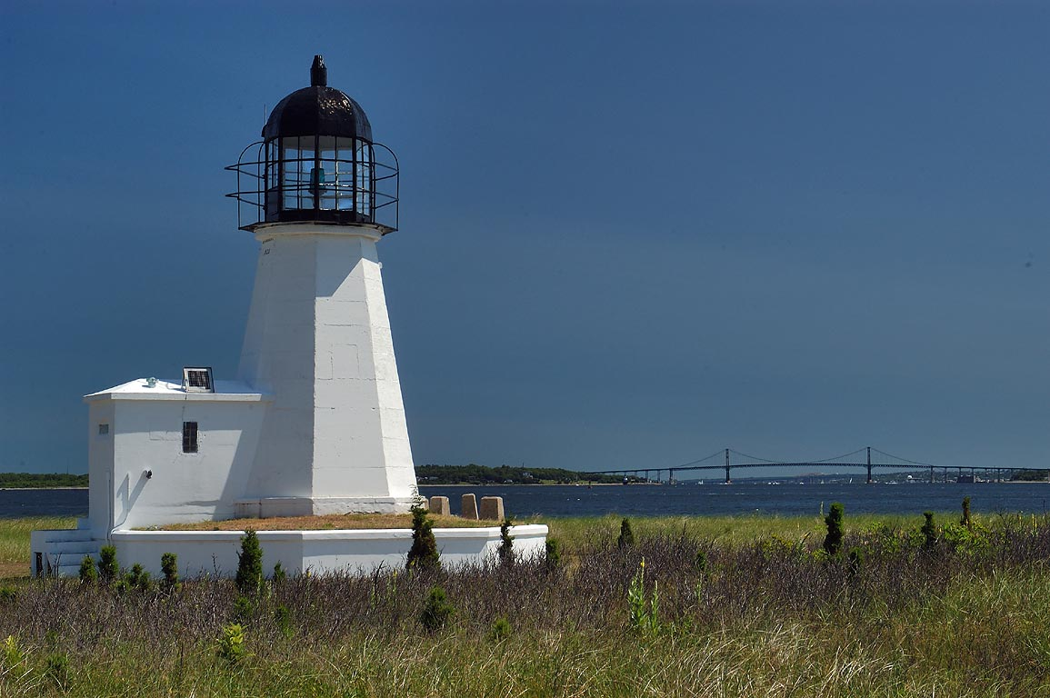 Prudence Island Lighthouse at Sandy Point. Rhode Island