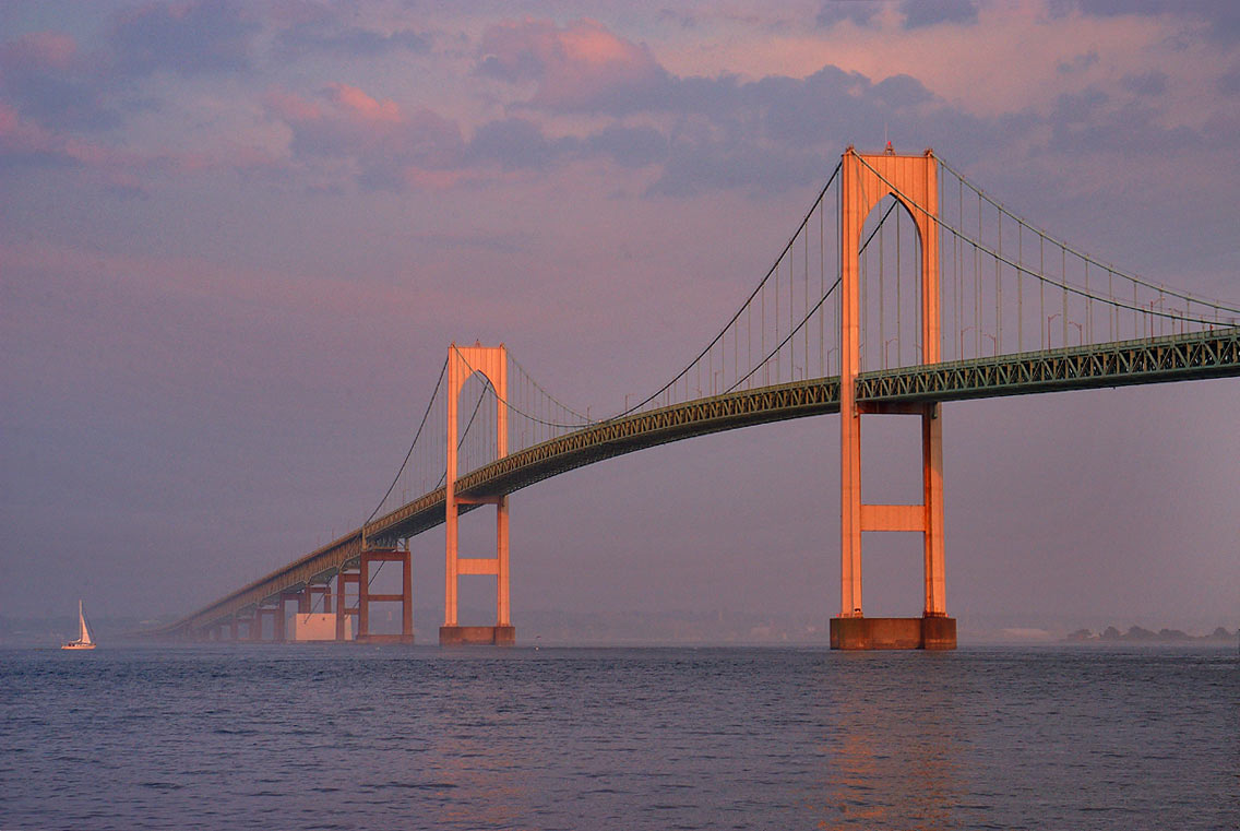 Newport Bridge at sunset, view from Taylor Point. Jamestown, Rhode Island