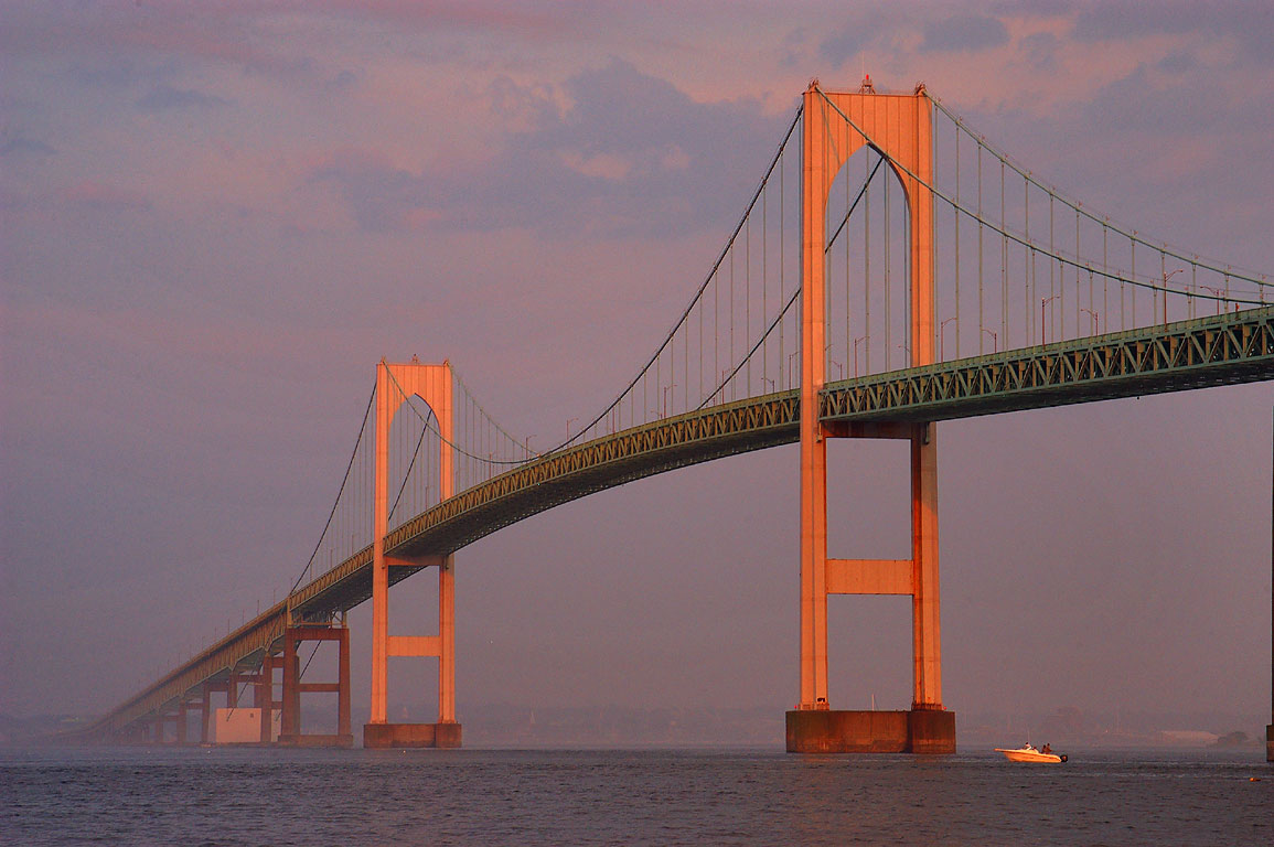 Newport Bridge and Narragansett Bay at sunset...Taylor Point. Jamestown, Rhode Island