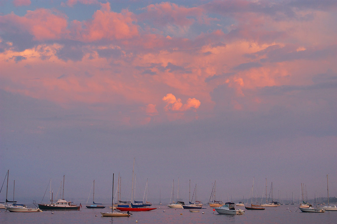 Jamestown marina at sunset. Rhode Island