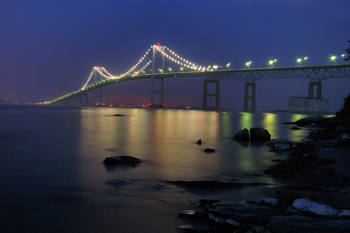 Newport Bridge at twilight, view from Taylor Point. Jamestown, Rhode Island