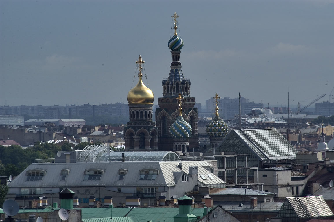 Church of Savior on Blood from colonnade of St.Isaac Cathedral. St.Petersburg, Russia