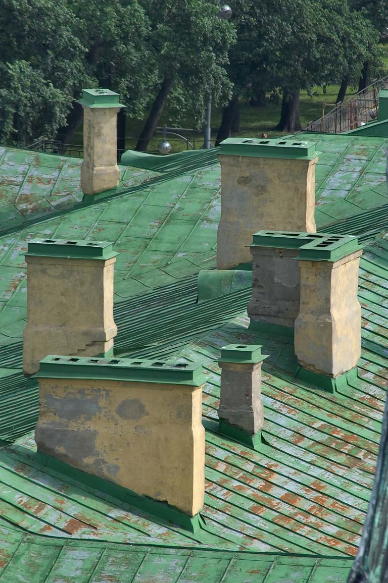 Chimneys from colonnade of St.Isaac Cathedral. St.Petersburg, Russia