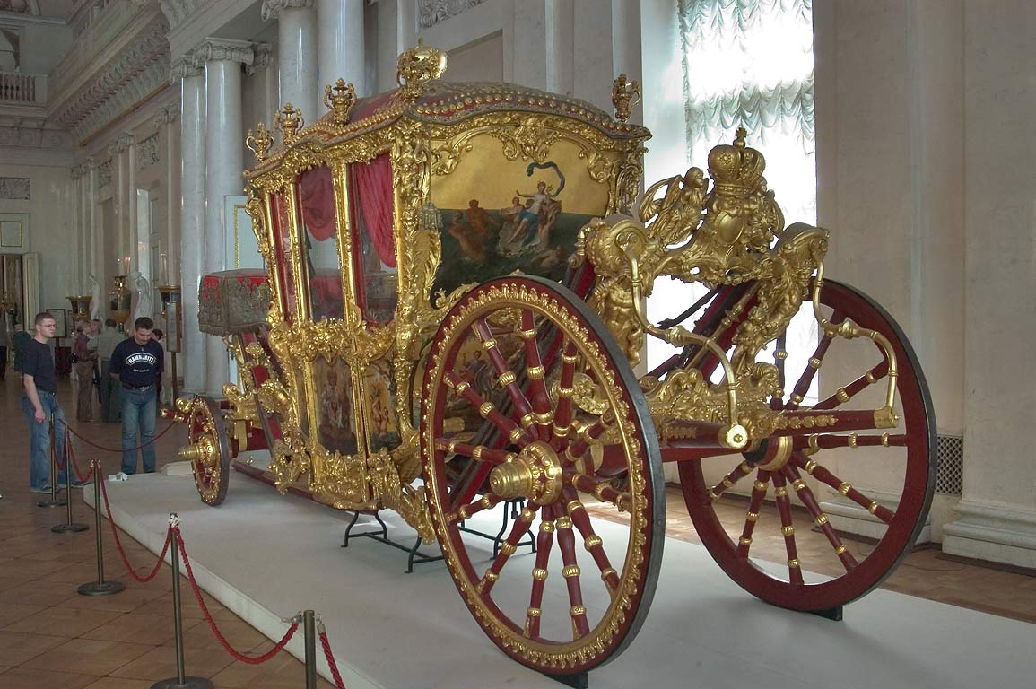 Big French carriage in Field Marshals' Hall in Hermitage museum. St.Petersburg, Russia