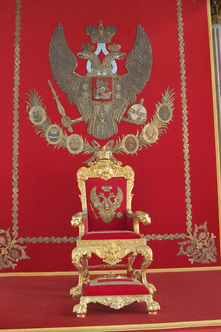 Gilt State Chair (throne) in St.George Hall in Hermitage museum. St.Petersburg, Russia