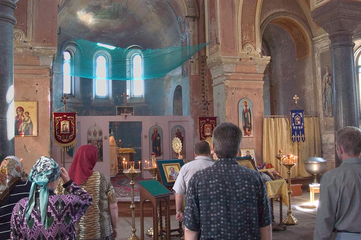 Worship in Nicholas (Nikolsky) Cathedral in Old...Ladoga). Leningrad Region, Russia