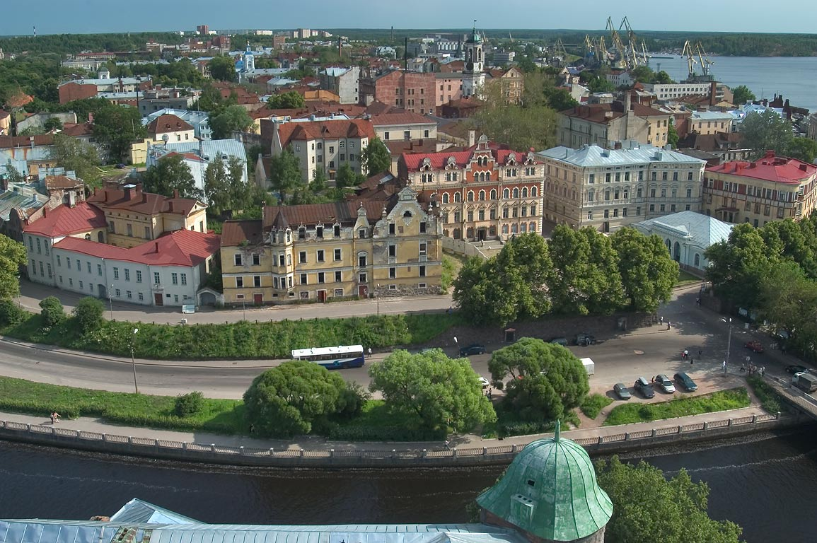 Old city of Vyborg, view from the castle. Leningrad Region, Russia