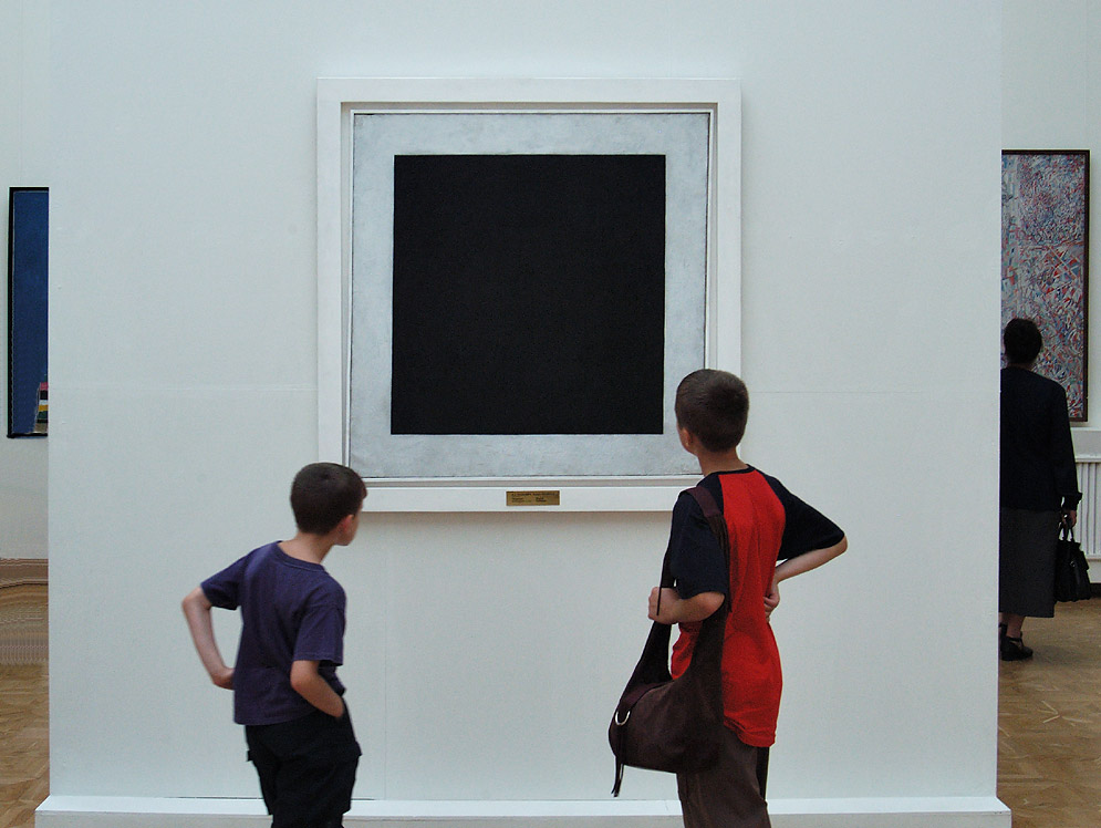 "Staring at Malevich ""Black Square"" painting in Russian Museum. St.Petersburg, Russia"
