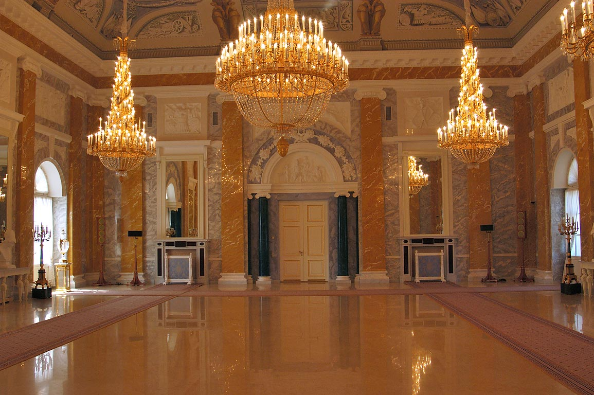 Marble Hall of Konstantinovsky Palace in Strelna. St.Petersburg, Russia