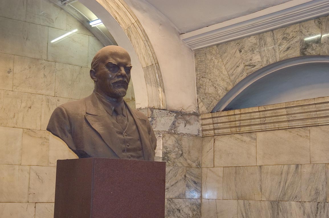 A monument of V. I. Lenin in Narvskaya Subway Station (metro). St.Petersburg, Russia